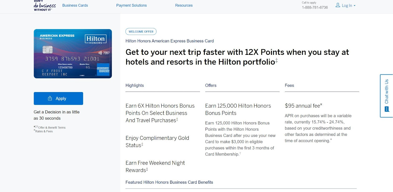 The Hilton Honors America Express Business Card: The Top 10 Business Credit Cards for Small Businesses
