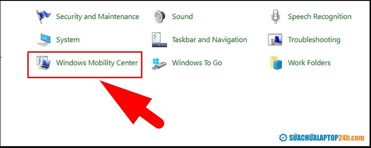 Chọn Windows Mobility Center
