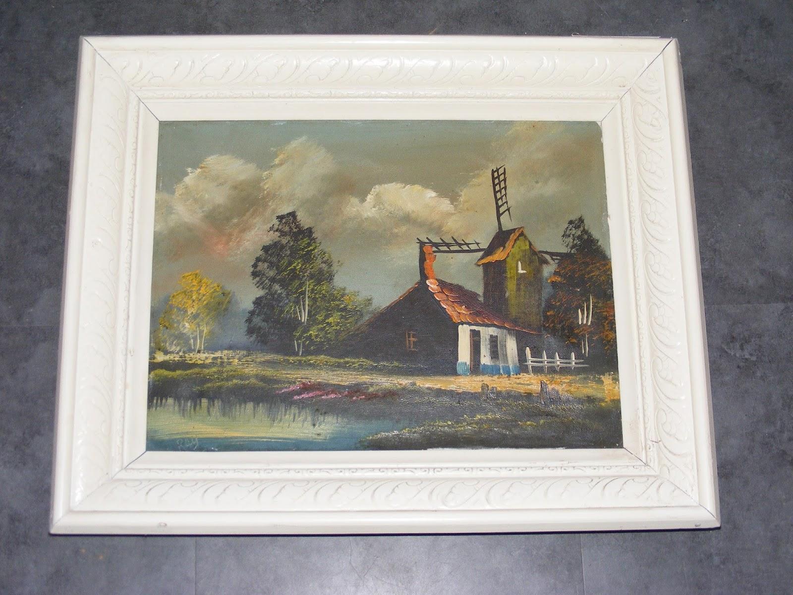 cadre en bois sculpte patine blanche huile sur toile signee ray cadr206 ebay. Black Bedroom Furniture Sets. Home Design Ideas