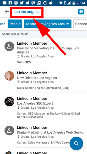Linkedin list of results after search of leads