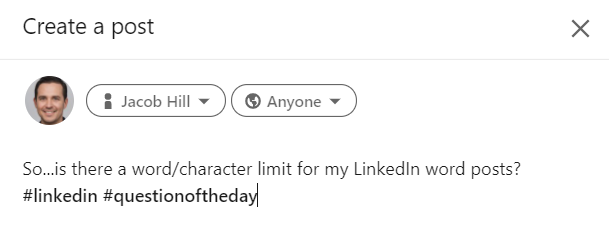 LinkedIn's 3000 character limit,character count