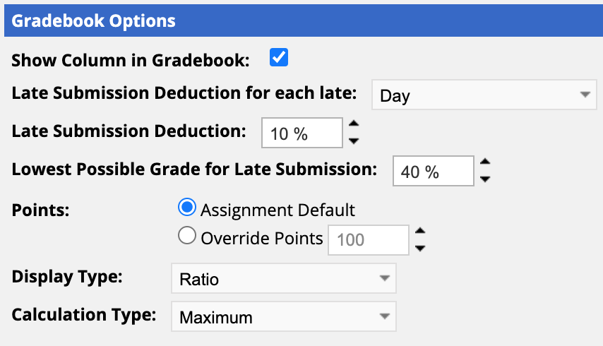 Per Day Late Submission Gradebook setting view