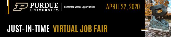 Purdue Just-in-Time Virtual Job Fair Banner