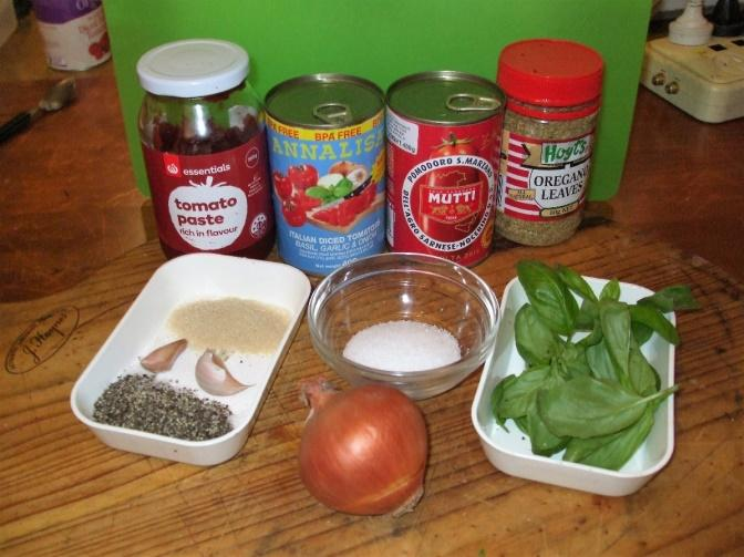 Ingredients for Pizza sauce