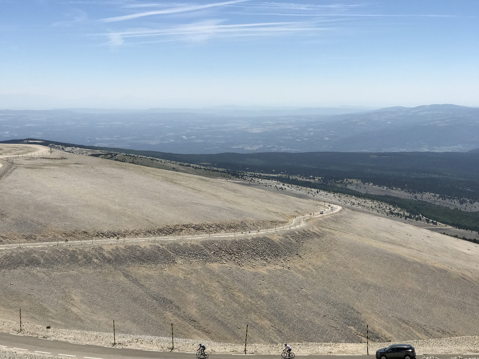 Climbing Mont Ventoux by bike - photo of route from Bedoin