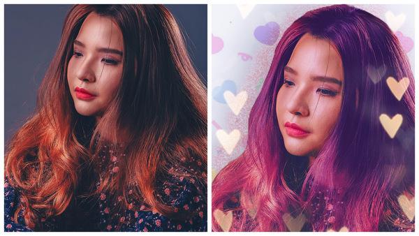 Montagem de uma mulher posando de lado com os cabelos soltos mostrando o antes e depois da edição.