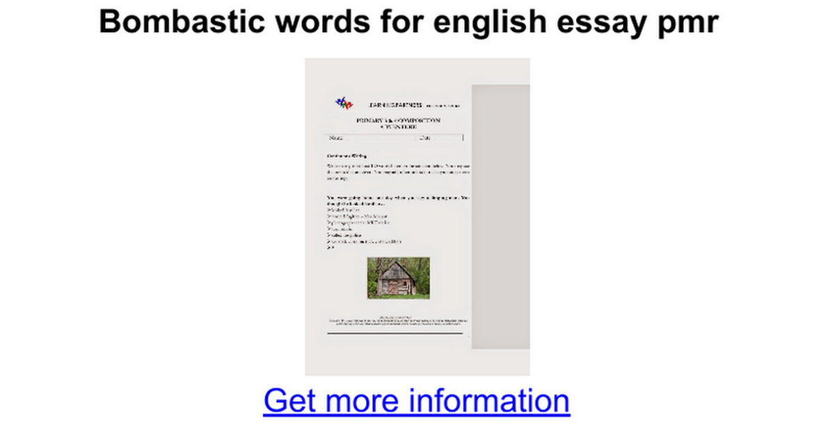Bombastic Words For English Essay Pmr  Google Docs
