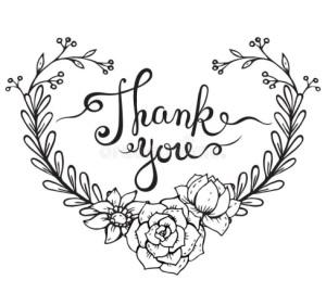 Hand lettering words Thank you with floral wreath