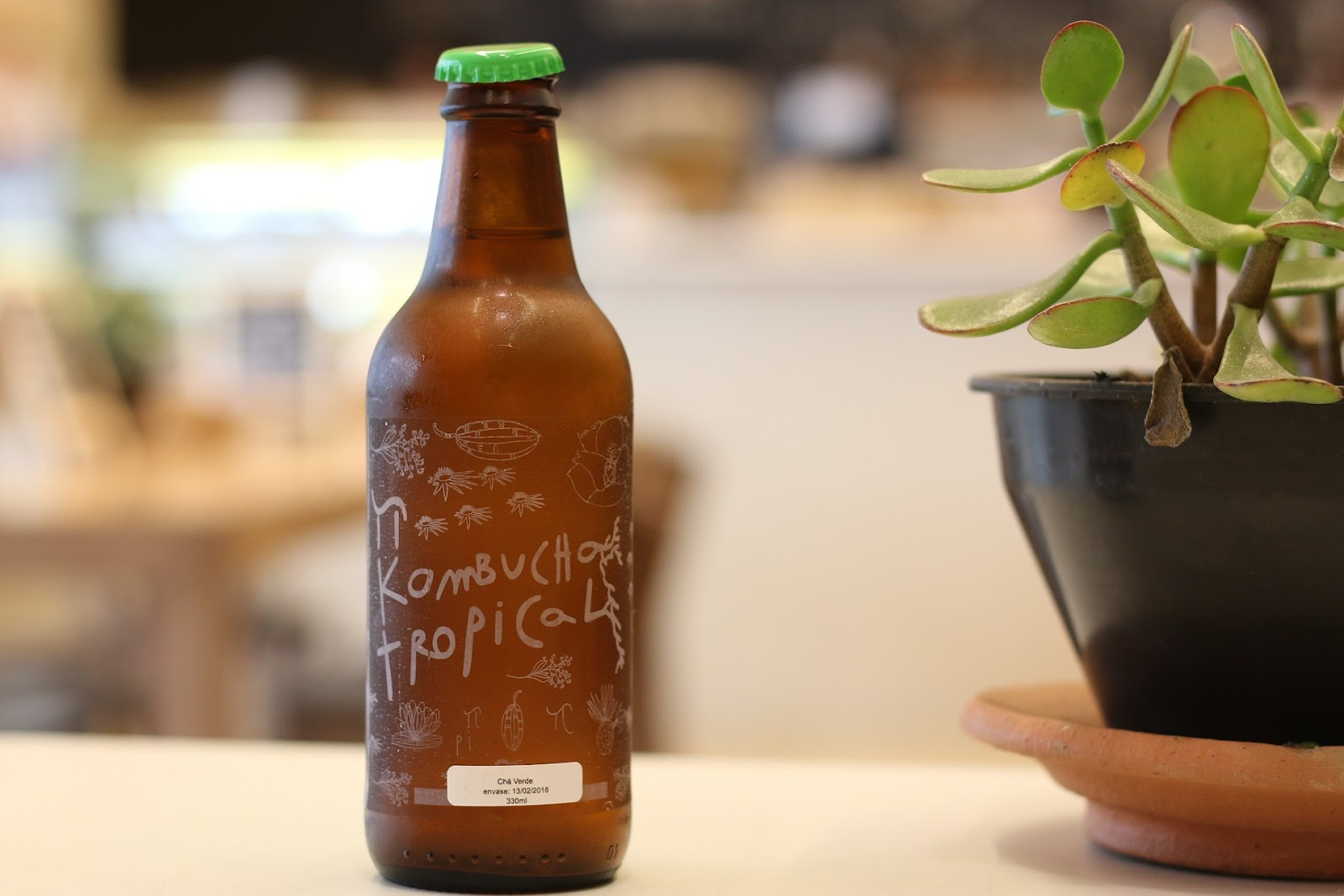 kombucha in brown bottle