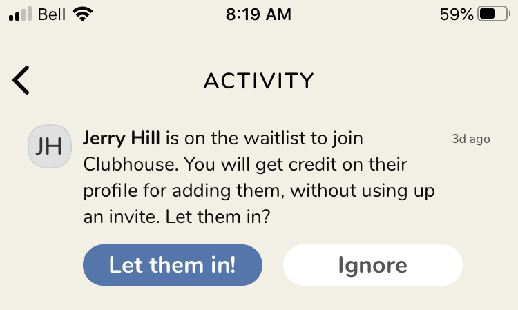 A screen shot of a request to join notification on Clubhouse.