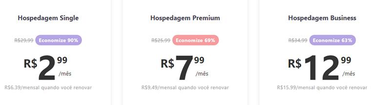 tela de preços da hostinger