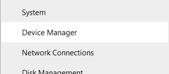 The Device Manager option in Quick Link menu