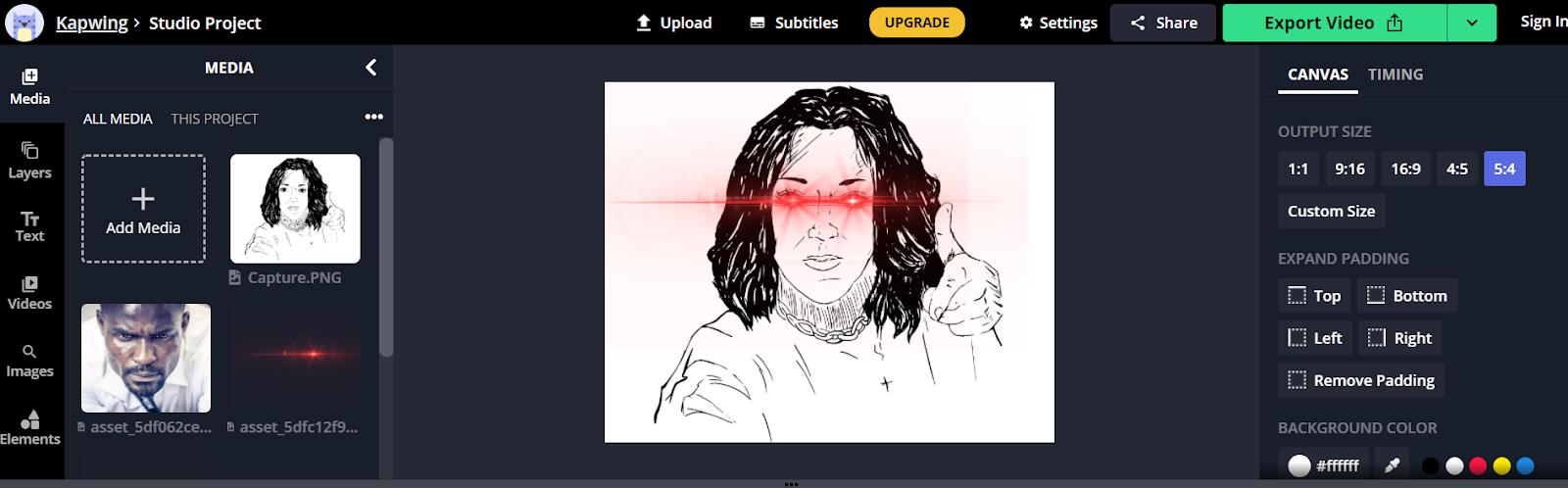 captures d'écran Kapwing - laser eyes bitcoin