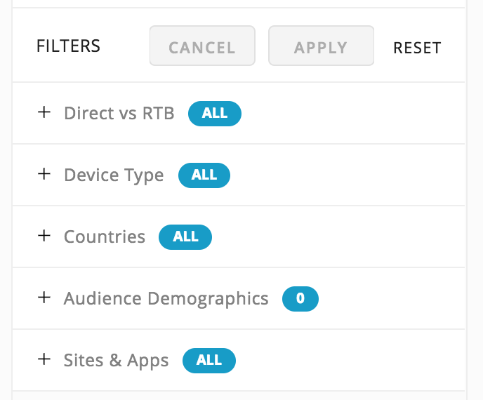 Screen shot with buttons across the top for cancel/apply/reset the filter choices. List of filters includes: direct vs rtb, device type, countries, audience demographics and sites & apps. Each filter has a plus button to open a drop down of additional choices and a blue button that is used to select all.