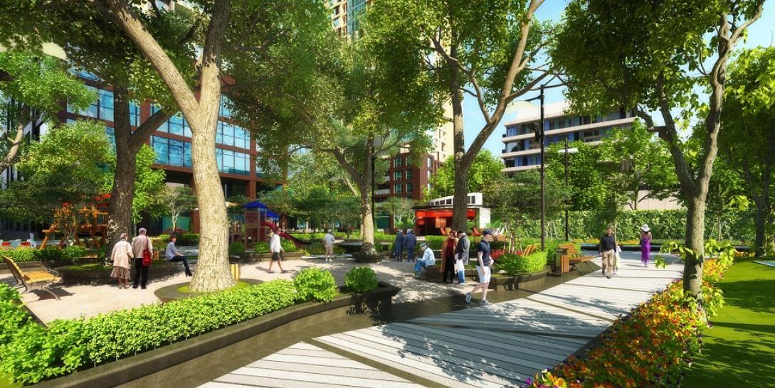 Khuôn viên xanh tại dự án cũng nhận được sự đánh giá cao từ các gia đình trẻ