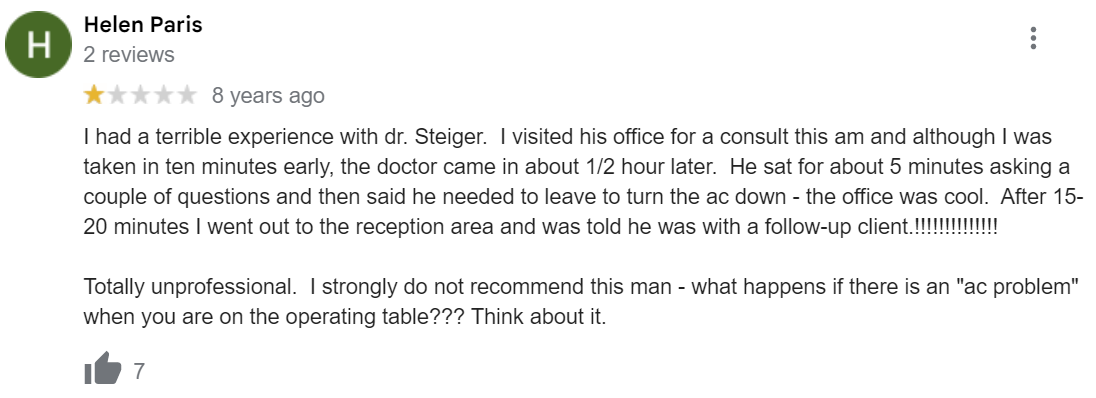 Dr. Jacob D. Steiger MD review
