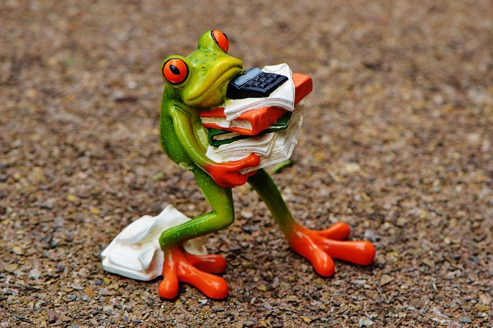 カエル, フィギュア, ファイル, スタック, 積み重ねられたファイル, オフィス, 装飾, 緑, 動物