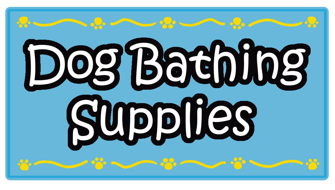 Blue Rectangle Dog Bathing Supplies Sticker Label with Yellow Border