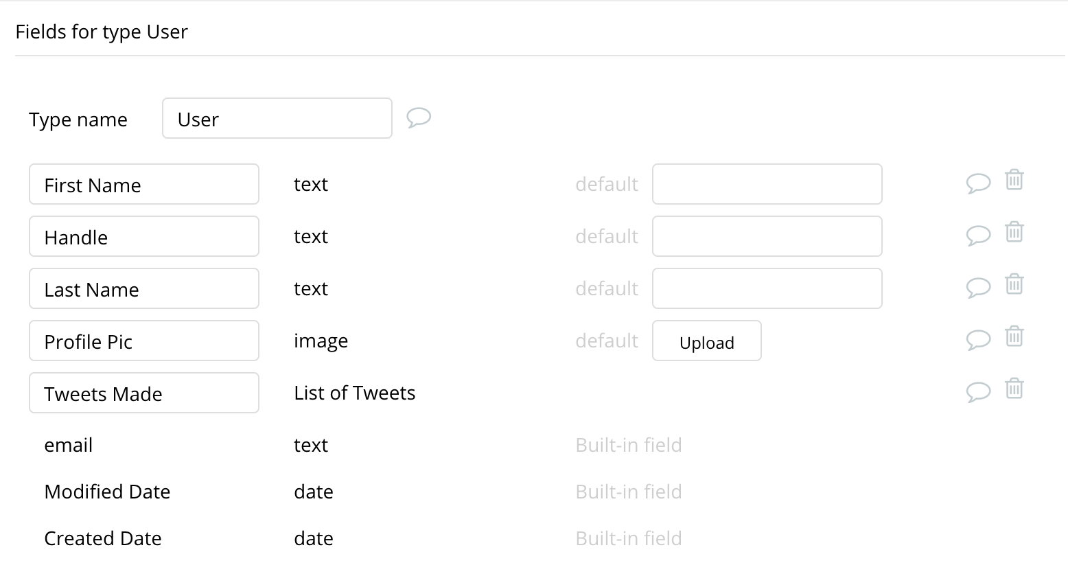 Bubble no code Twitter clone walkthrough tutorial User data type