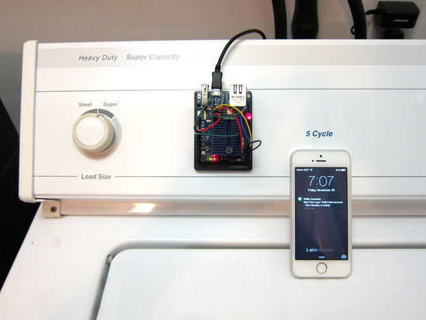 Picture of Washer Dryer Laundry Alarm using Arudino & SMS Text Messaging Alerts