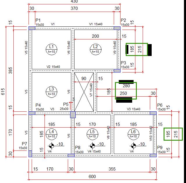 cotas e níveis da planta de casa