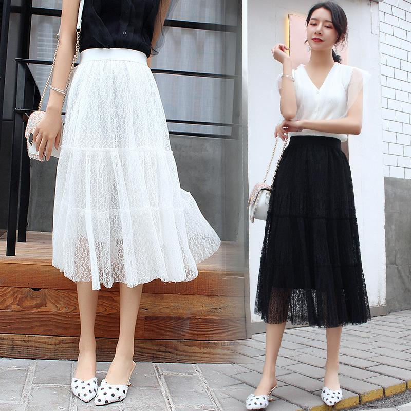 2021 Summer Casual Skirts Womens Beach Skirt 2021 New Style Korean Style  Versatile Joint Lace Skirt Mid Length A Word Skirts From Guichenshirt,  $26.99 | DHgate.Com