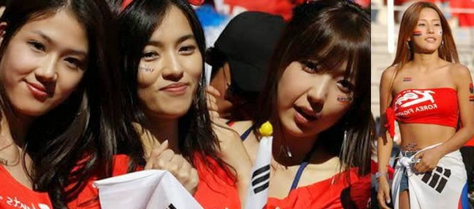check out some of the hottest football fans of south korea
