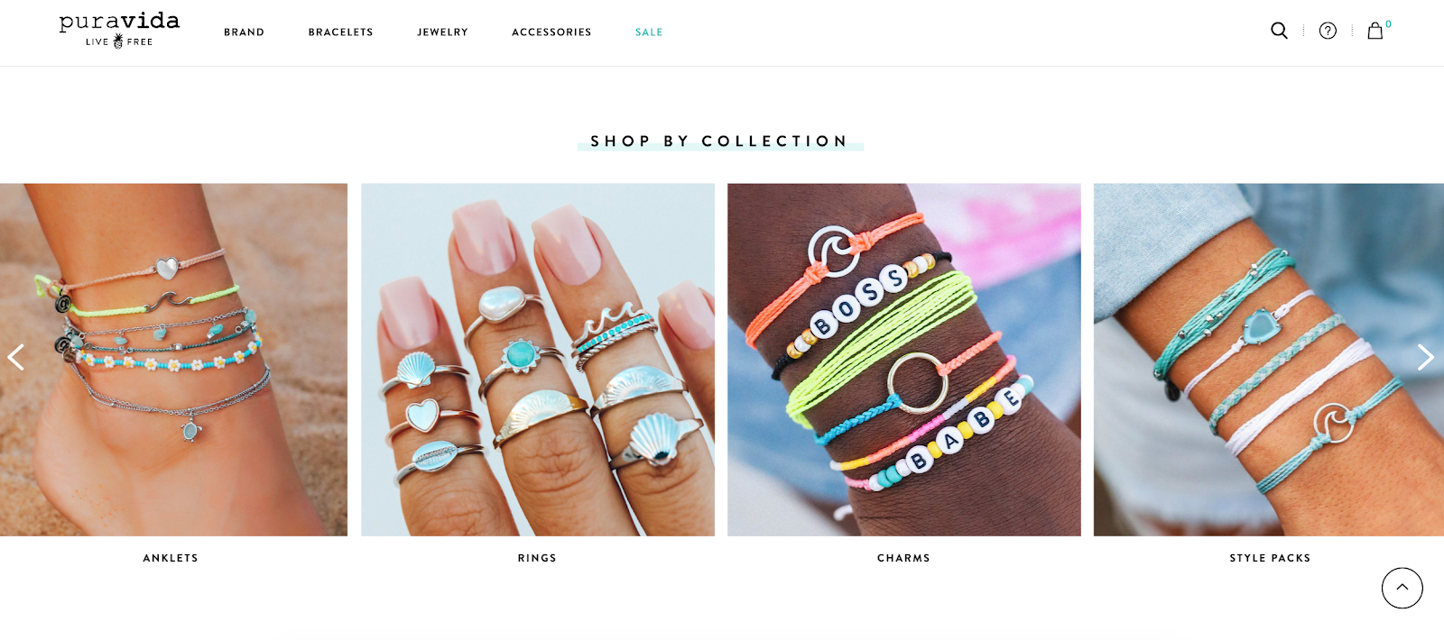 Merchandising example of Collections by Pura Vida