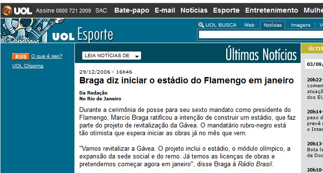 Há 10 anos Imprensa inventa um estádio pro Flamengo