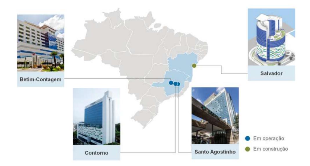Imagens apresentam a fachada e localização dos hospitais.