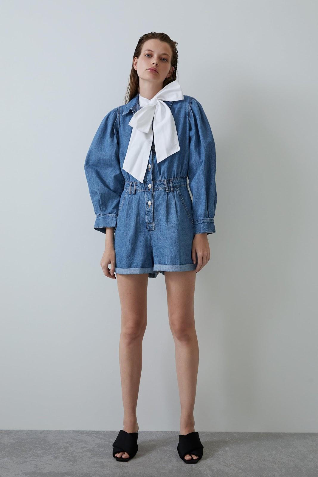 Image 1 of VOLUMINOUS DENIM JUMPSUIT from Zara