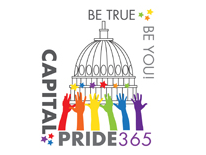 text Capital Pride 365 Be True Be You!