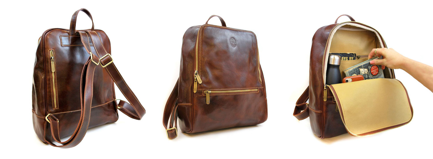 Three views of a leather backpack
