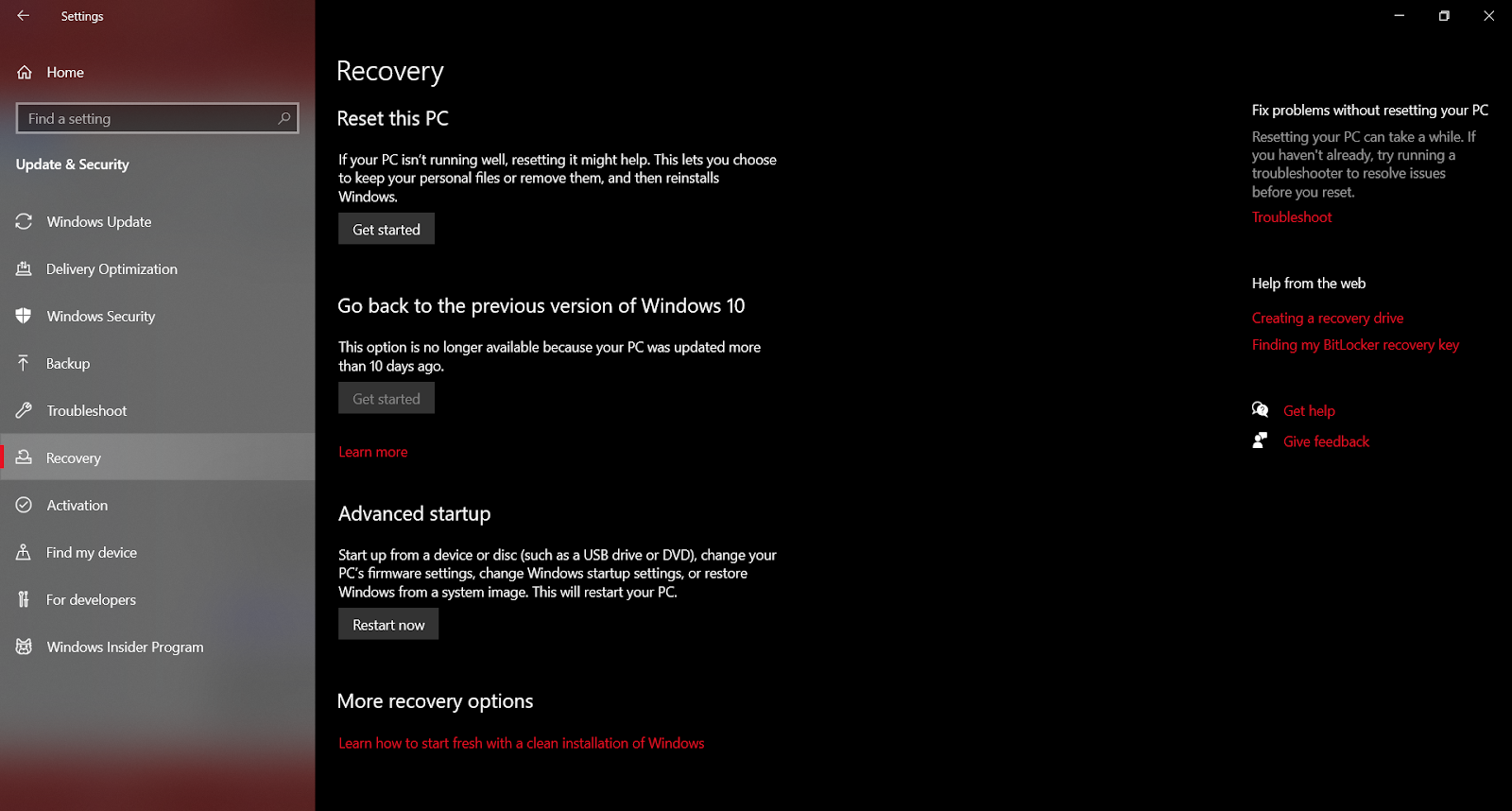 Select the Updates and Recovery