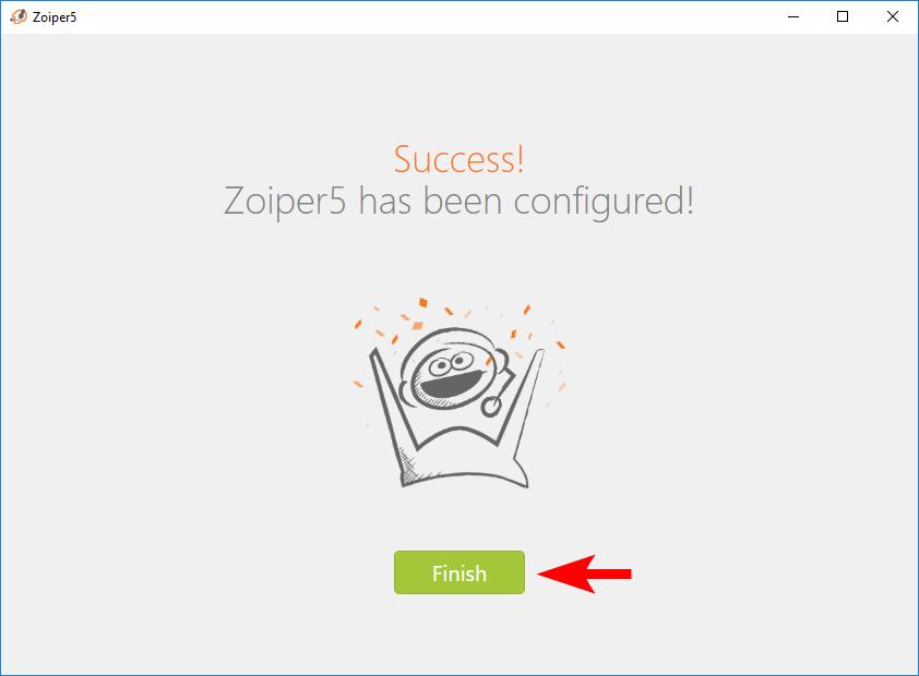 Интерфейс завершения авторизации Zoiper