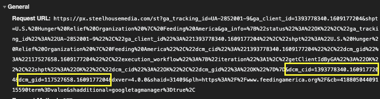 Screenshot of a network request made to another domain that appears to be copying Google Analytics user identifiers