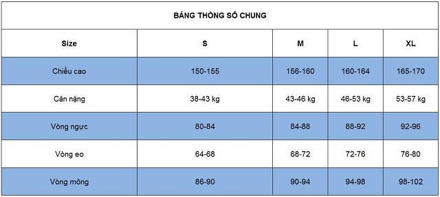 Size quần nữ theo chiều cao cân nặng