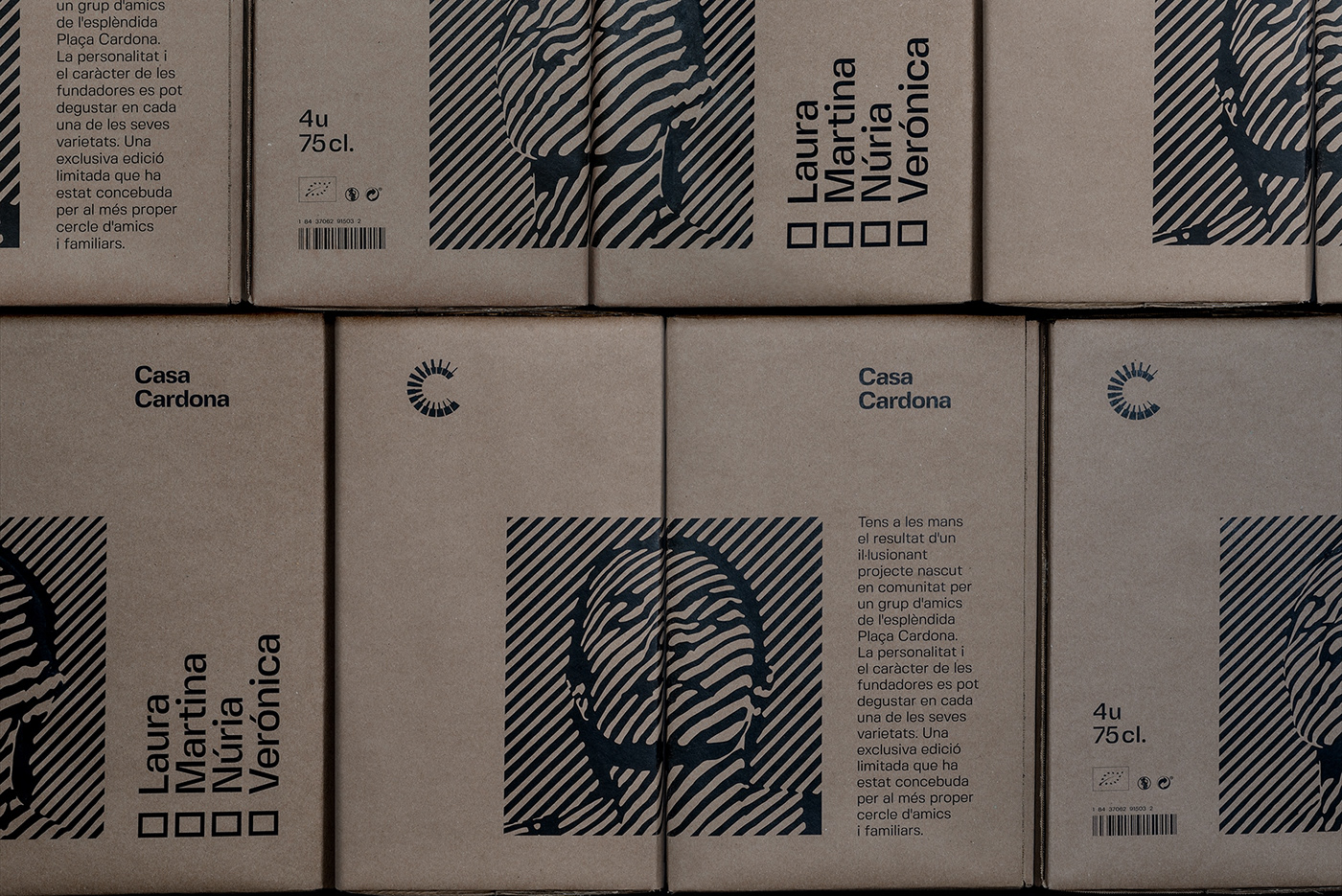 Casa Cardona wines. Group shot of the wine boxes in a stack creating a seamless image