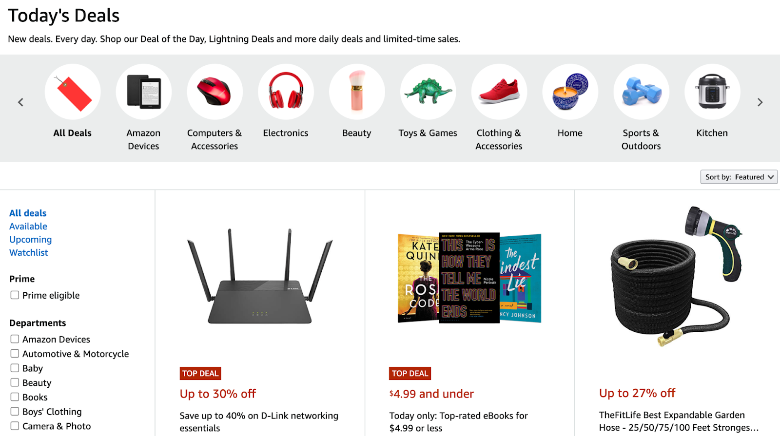 Shopping page with varieties of product deals.