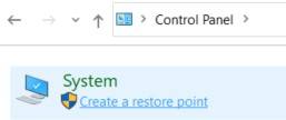 Create a restore point link in Control Panel window