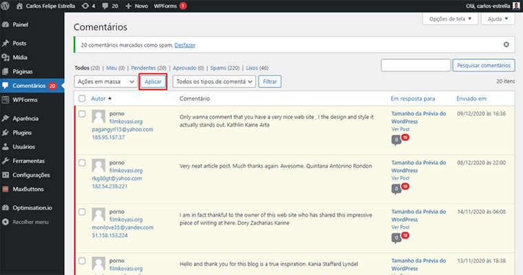 desabilitar comentários wordpress em massa usando o botão aplicar