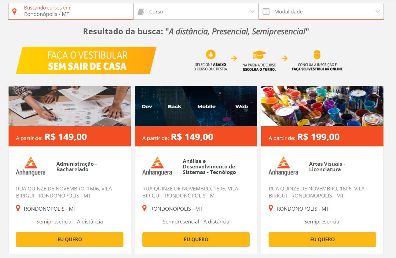busca de opções de cursos na Anhanguera em Rondonópolis/MT