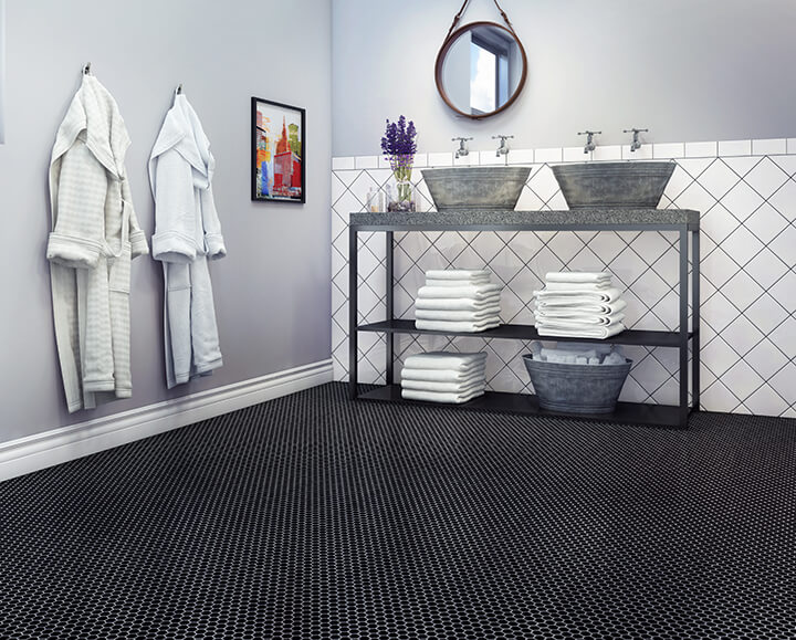 Tiny black hexagon tile mosaic bathroom floor