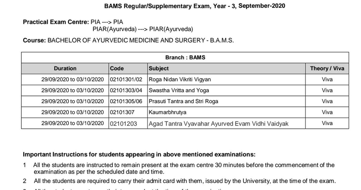 Schedule B Instructions 2020 Practical_Exam_Schedule_BAMS_Reg_Supp _Exam_Year_3_September 2020