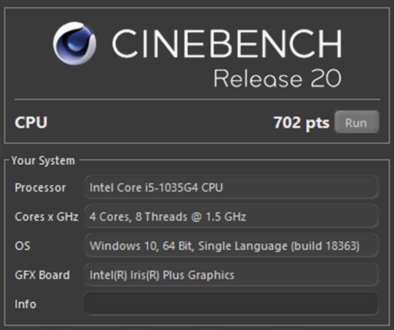 Đo hiệu năng của Lenovo Yoga Slim 7 bằng Cinebench