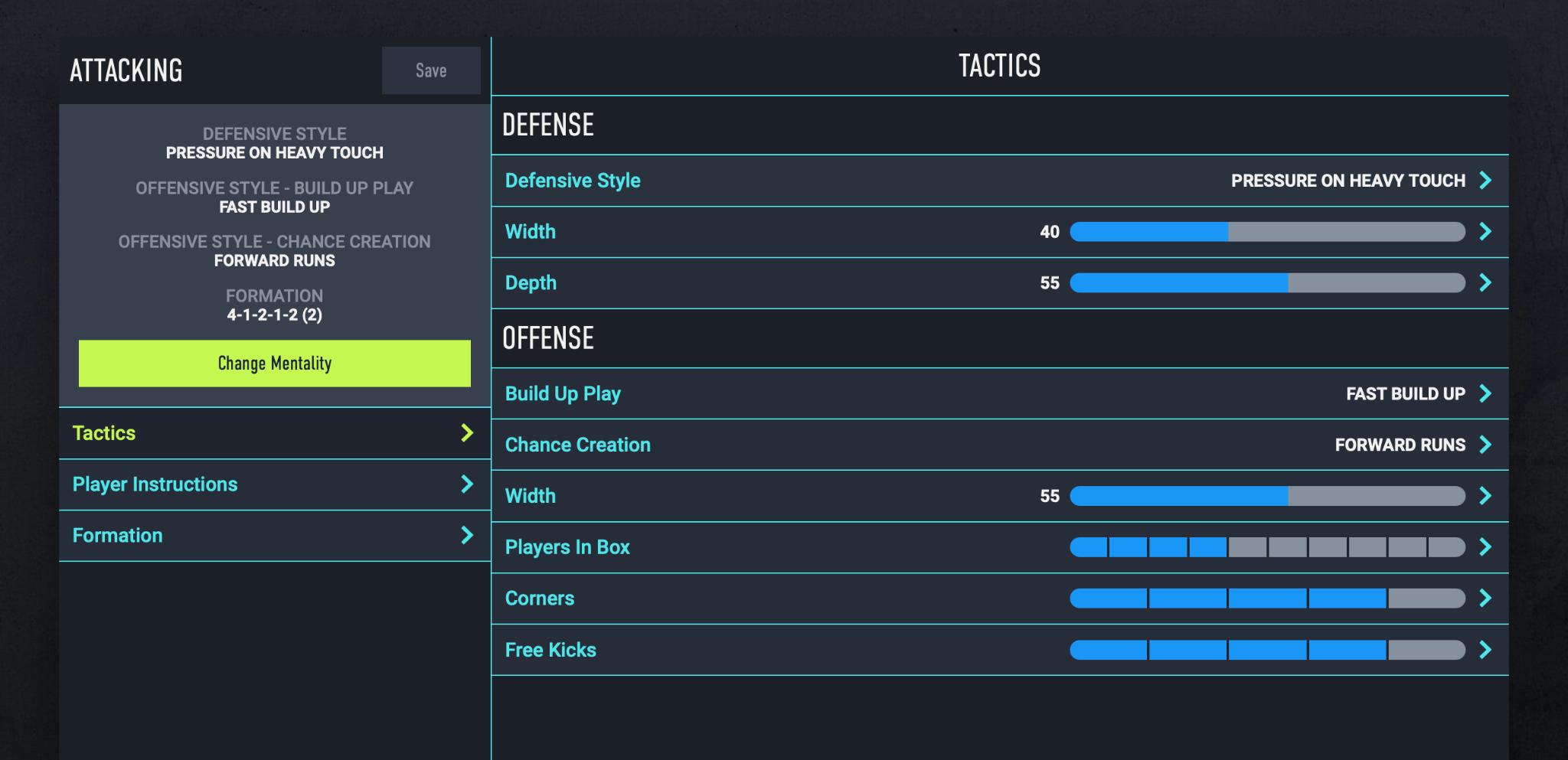 Custom Tactics on the FUT App