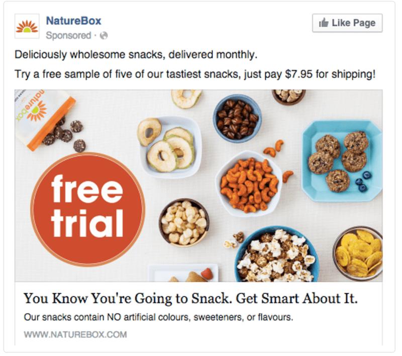 NatureBox sample Facebook advertisement for free sample snacks.