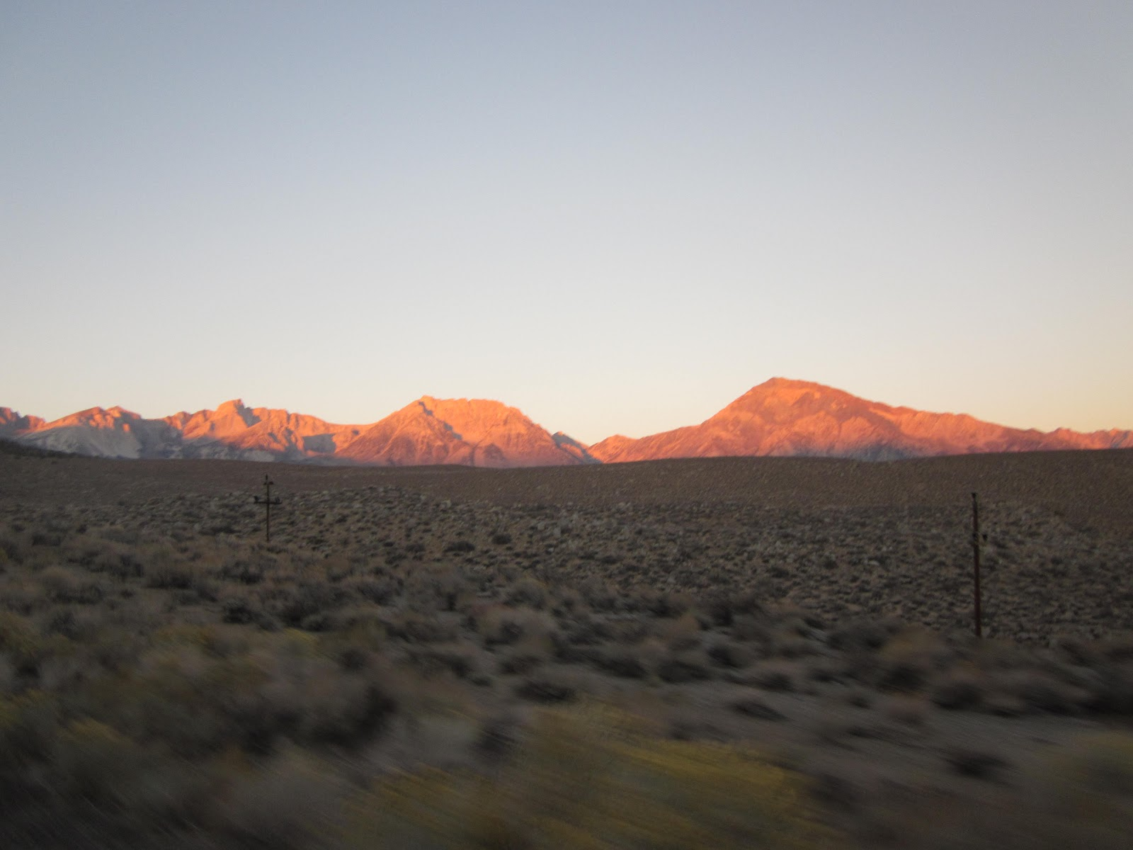 Bicycle climb to Lake Sabrina - mountains at sunrise