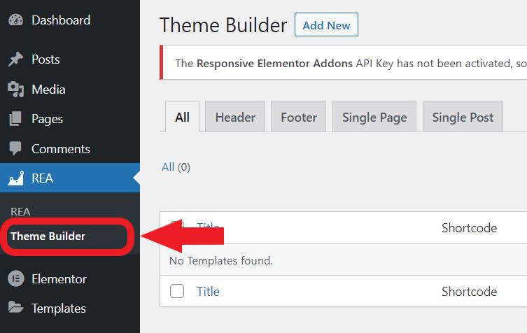 REA Theme Builder Feature