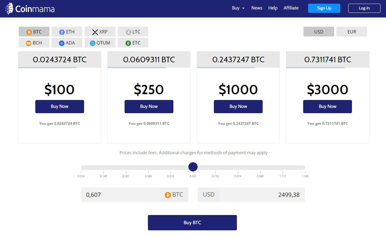 Buying cryptocurrencies using CoinMama